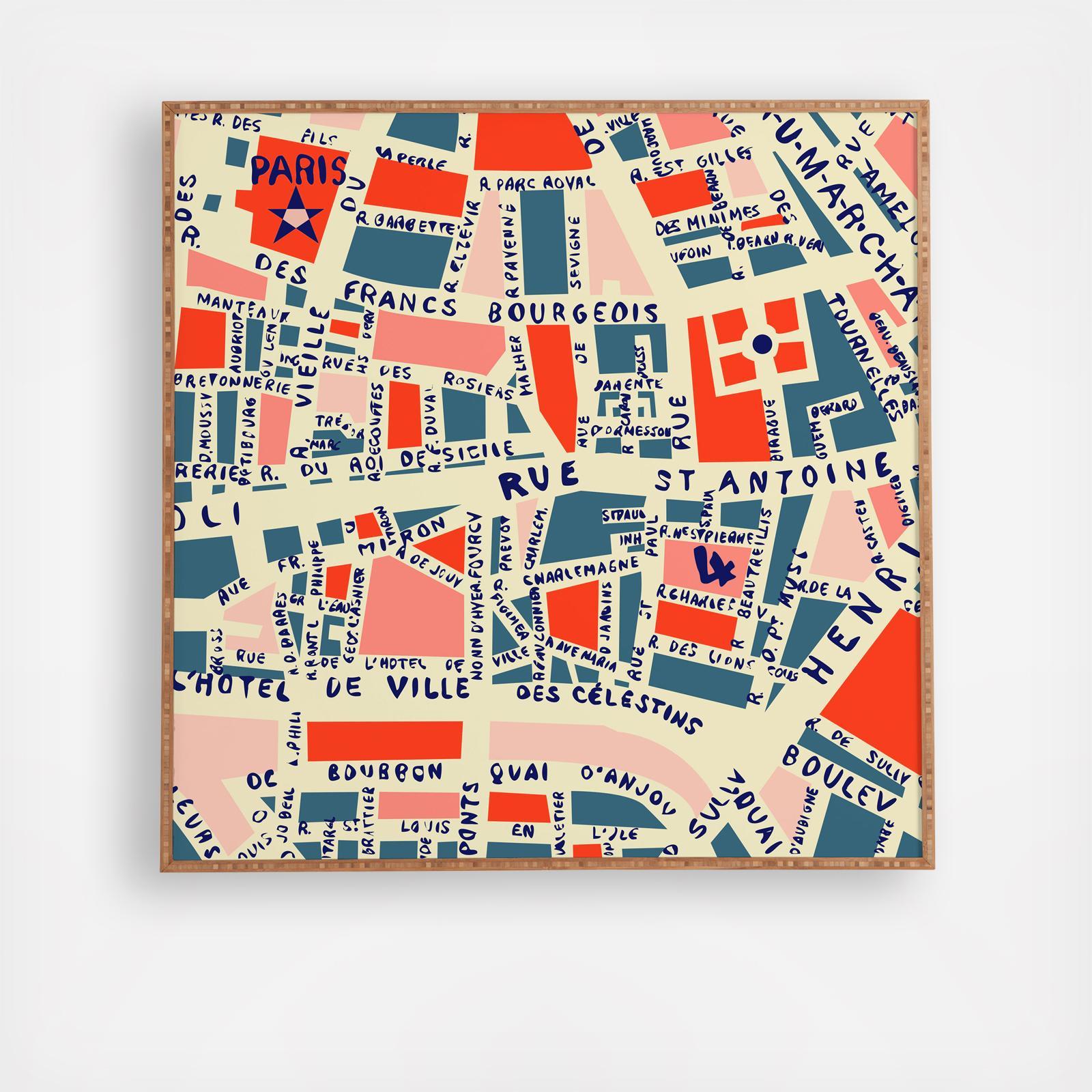 Paris Map Framed Wall Art Zola