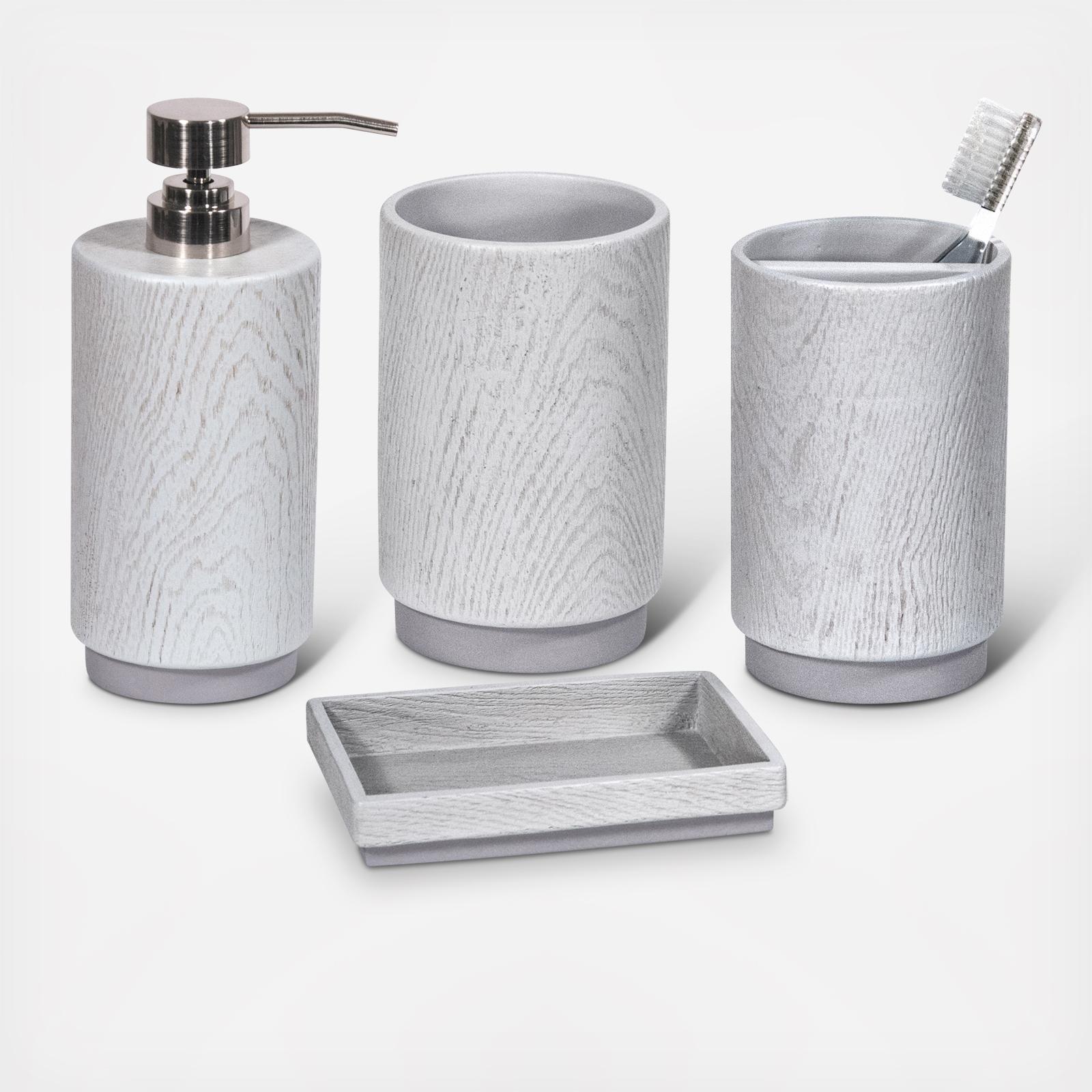 Superbe Grey Wood 4 Piece Bath Accessories Set By DKNY | Wedding Planning, Registry  U0026 Gifts