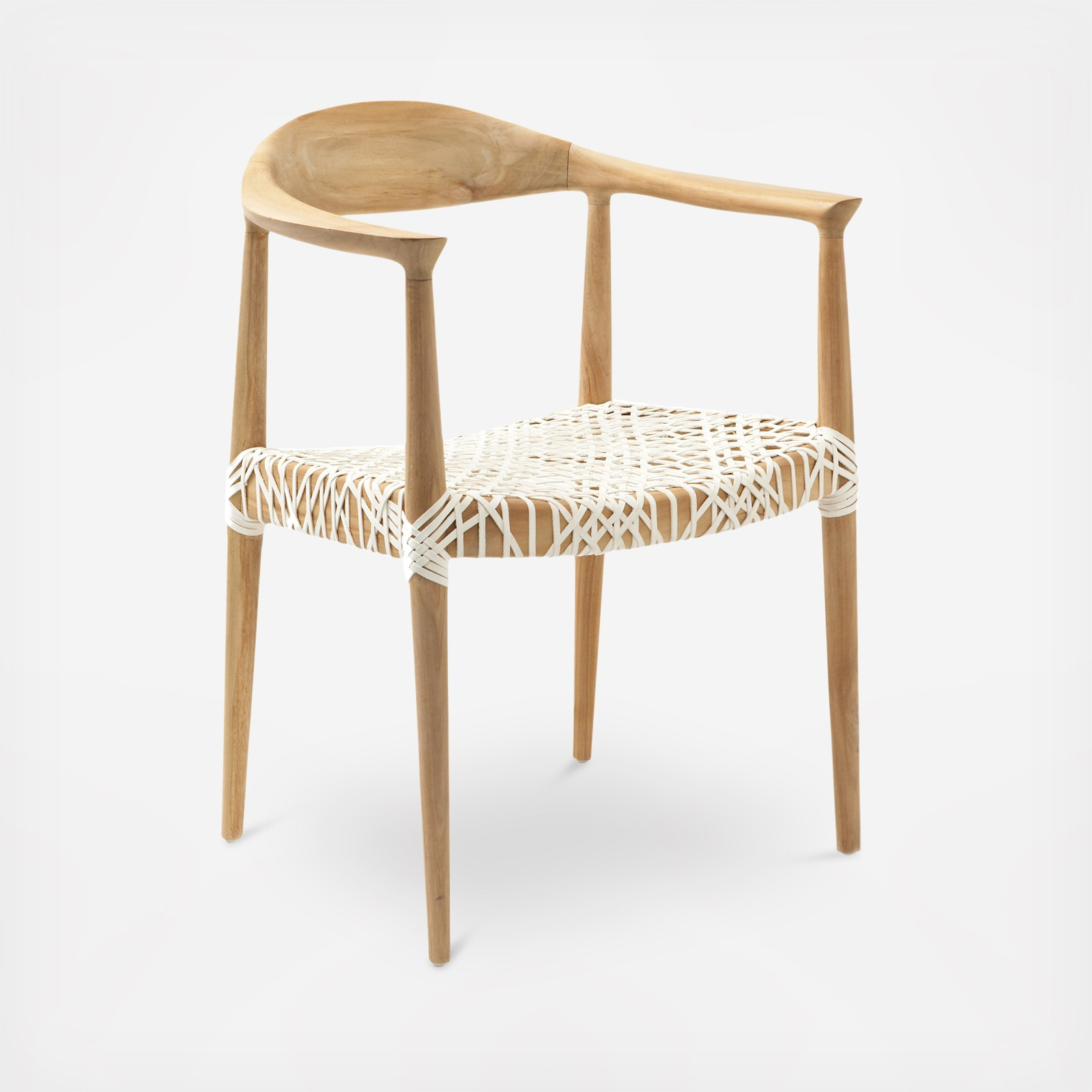 Woven Leather Seat Armchair